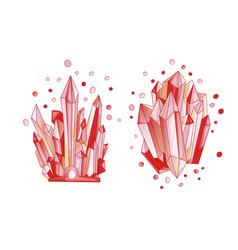 red crystal cartoon cute quartz vector image