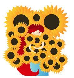 redhead girl is surrounded sunflowers and vector image