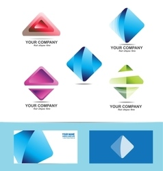 Rhombus logo icon set vector image