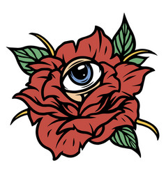 rose flower with all seeing eye vector image