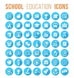 round flat white school icons silhouettes vector image