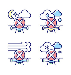 Safe drone operation rgb color manual label icons vector