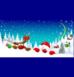 santa and deer on christmas night 1 vector image
