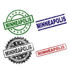 Scratched textured minneapolis stamp seals vector