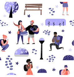Seamless pattern with traveling people in trip vector