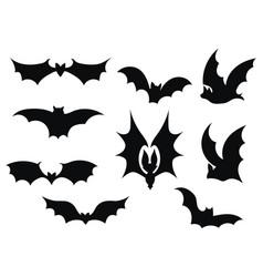 set bats collection bats flying bats vector image