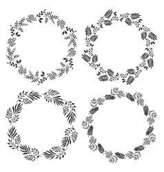 set monochrome sketchy botanical round wreaths vector image