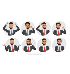 Set of emotions and poses for business man vector