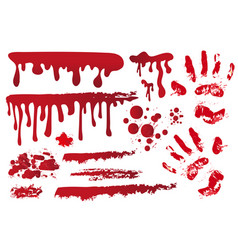 Set realistic bloody streaks handprint in the vector