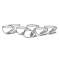 Seven cups vintage vector