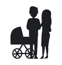 Silhouette of family black and white poster vector