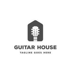 simple minimalist guitar music house logo design vector image