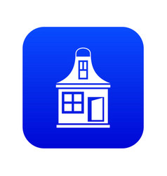 small house icon digital blue vector image