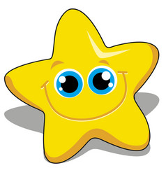 Smile face of cute yellow star isolated on white vector
