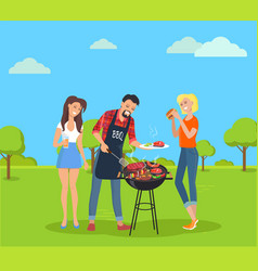 steak and barbecue party vector image