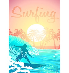 Surfing male at sunrise with palm trees vector image