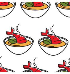 Thai food seafood omar soup bowl seamless pattern vector
