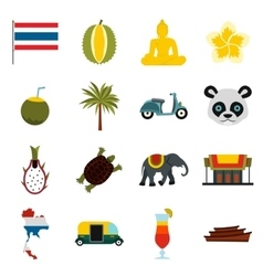 Thailand icons set flat ctyle vector