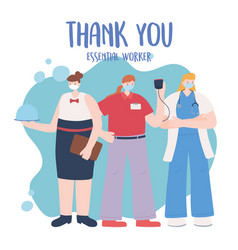 Thank you essential workers group female emplyees vector