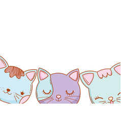three kitty cats cartoon vector image