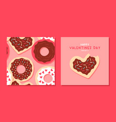 valentines day pink donut heart pattern card set vector image