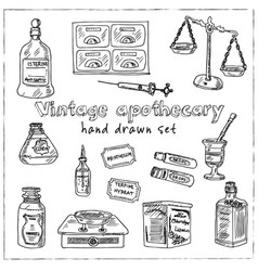 Vintage apothecary hand drawn doodle set vector