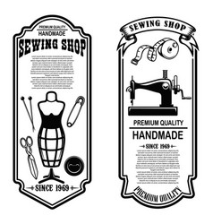 Vintage tailor shop flyer templates sew tailor vector