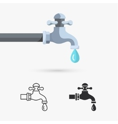 Water tap with drop vector image
