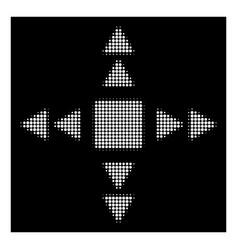 White halftone direction triangles icon vector