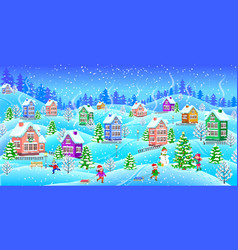 Winter landscape with snowcovered houses children vector
