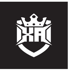Xa logo monogram isolated with shield and crown vector