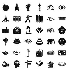 Yoga meditation icons set simple style vector
