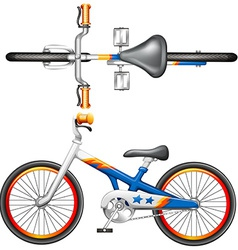 A top and side view of a bicycle vector image