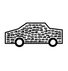 car vehicle with vehicles silhouette vector image vector image