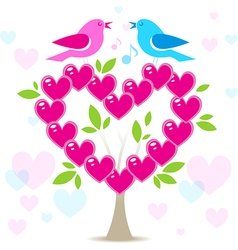 Love tree with two birds vector image