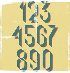 Numbers retro font design element mockup old vector image vector image