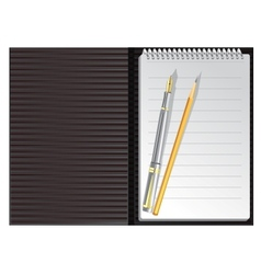 Open black striped notebook with pen and pencil vector image