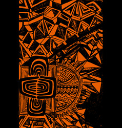 bright ethnic pattern black outline on an orange vector image vector image