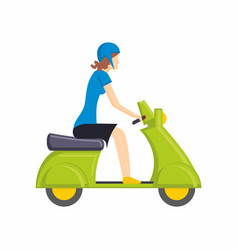 girl on green scooter bike flat vector image