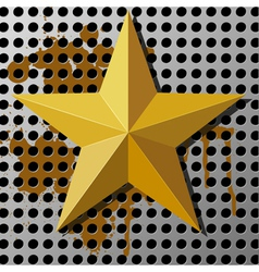 Gold star on a metal background with holes vector image vector image