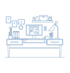 line art workplace in flat style of vector image vector image
