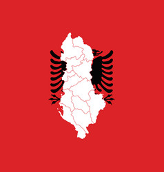 map and flag of albania vector image vector image