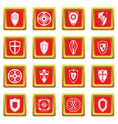 shields set icons set red vector image vector image