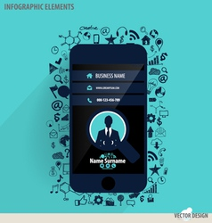 Touchscreen device with application icon vector image
