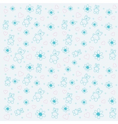 background with bears and flowers vector image