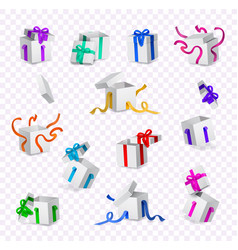 cartoon present gift box ribbon bow set vector image