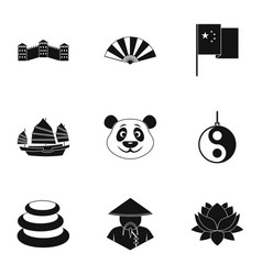 china republic icon set simple style vector image vector image
