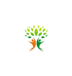 happy people vegetarian partner logo vector image vector image