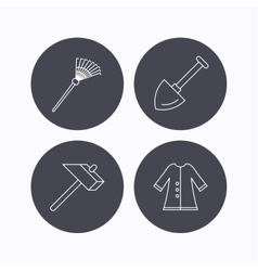 Shovel hammer and cloak icons vector image