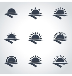 black sunrise icon set vector image